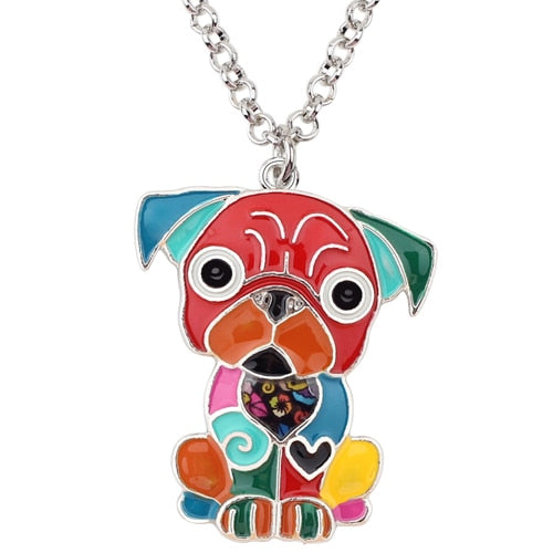 French Bulldog Enamel Necklace - CraftyKatCorner