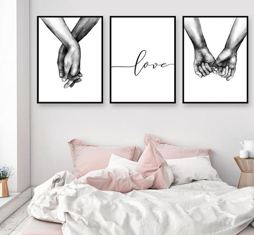 Love Couple Holding Hands Wall Print - CraftyKatCorner