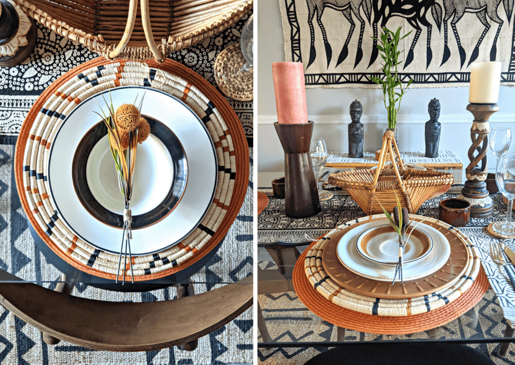 glass dining table top styled african inspired modern style
