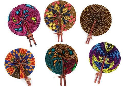 ankara fabric folding fans leather handle african print fabric