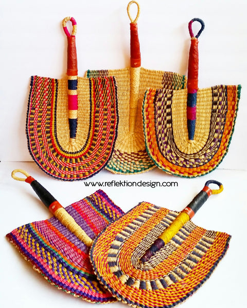 woven african fans leather handle