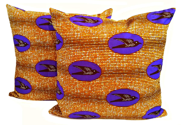 purple african print fabric throw pillow covers speed bird ankara afrocentric decor ideas spring