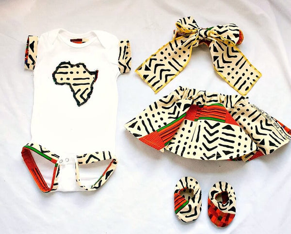 kente cloth print african fabric onesie booties gift set baby shower ideas