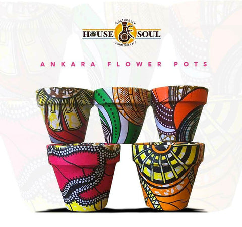 african print fabric flower pots spring decor ideas ankara afrocentric interiors