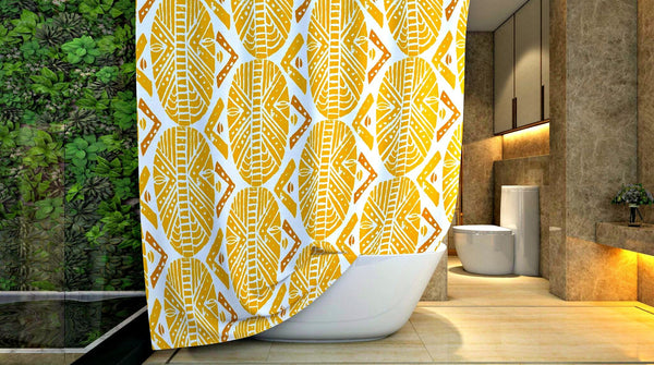 yaytoonday yellow-african-masks-shower-curtain-yellow-african-print-curtains