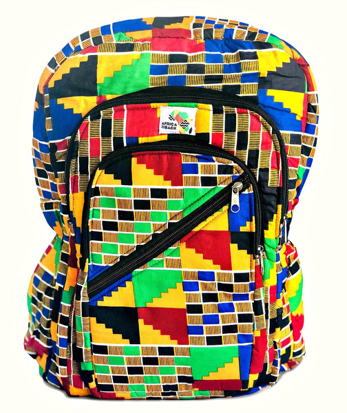 African print fabric kente cloth back to school back pack book bag