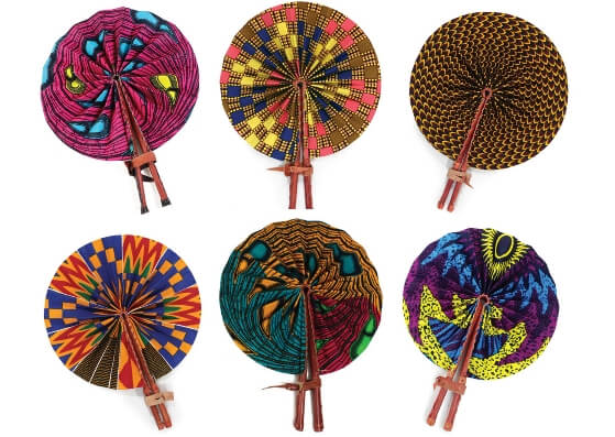 ankara african print fabric folding fans with leather handle mothers day gift guide