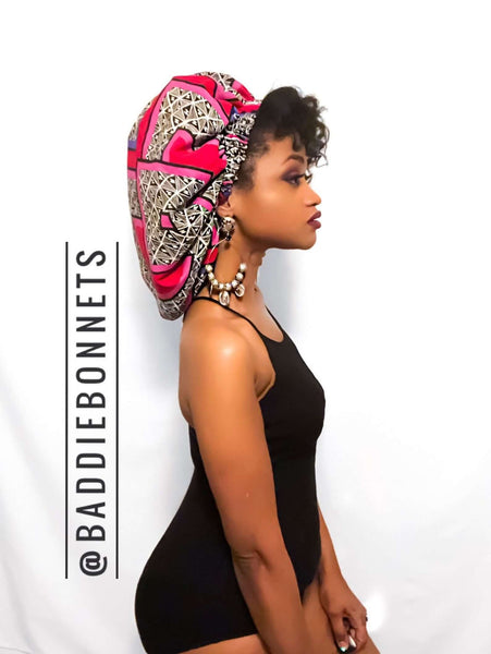 satin lined african print fabric bonnet