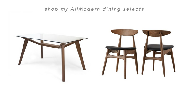 Allmodern glass dining table mid century modern chairs reflektion design blog post