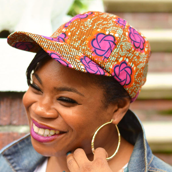 ankara fabric satin lined baseball cap