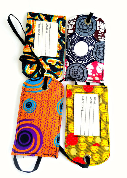 african print fabric luggage tags