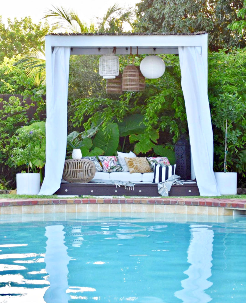swimming pool with cabana in backyard how we live decor blog