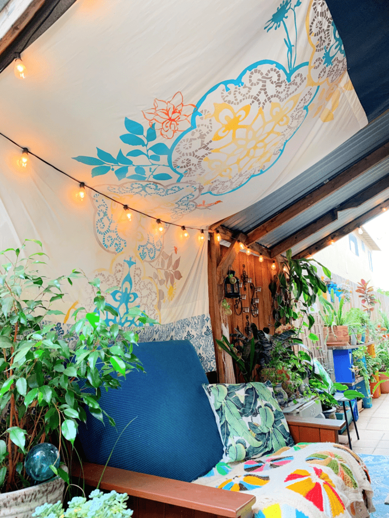 backyard styling with fabric and lights home tour decor blog
