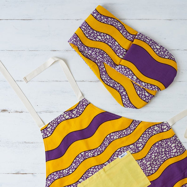 purple yellow african print fabric apron oven mits mothers day gift guide