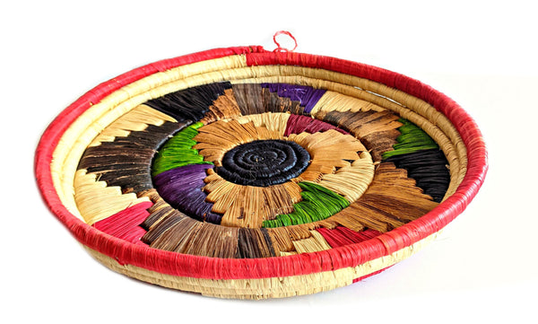 colorful woven African serving tray