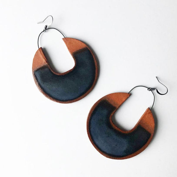 black brown clay earrings