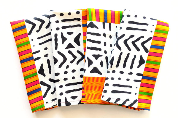 white black kente pattern dinner napkins