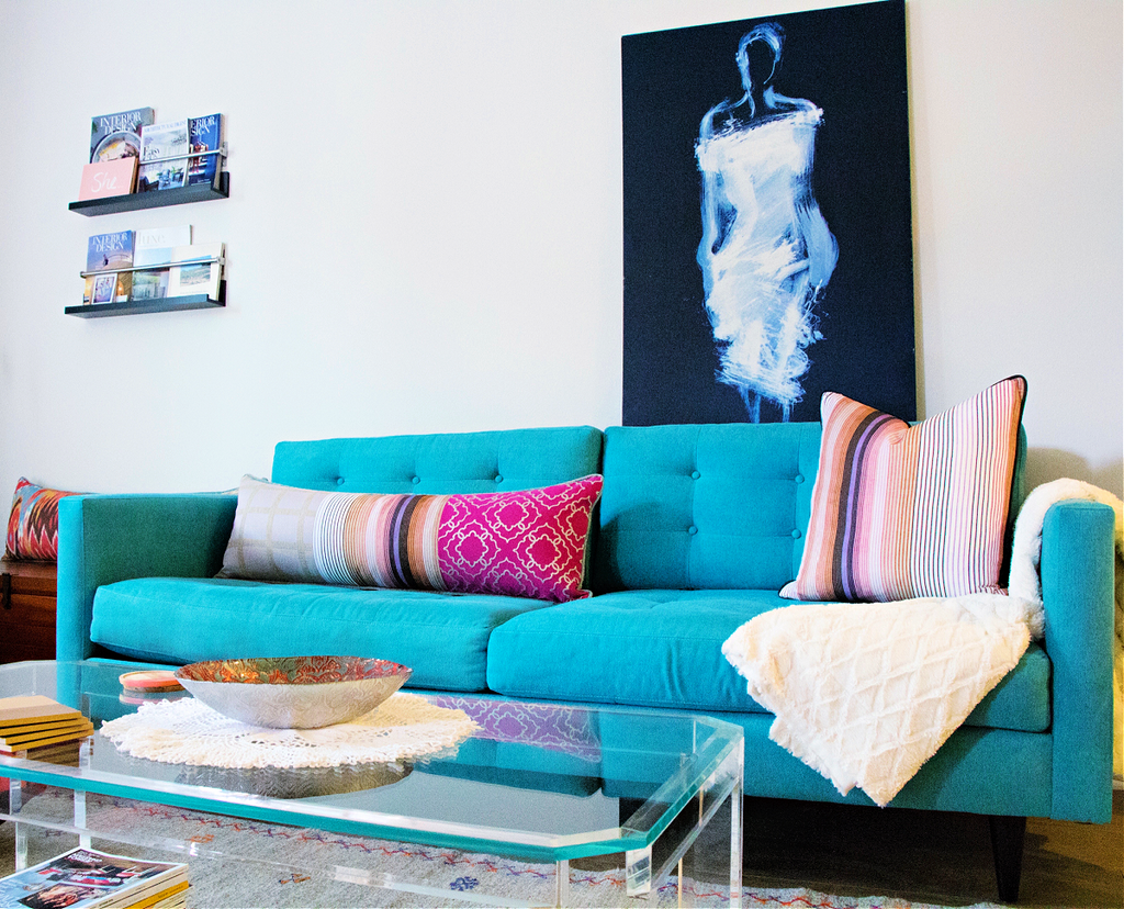 turquoise sofa styled with lumbar pillow decor blog how we live