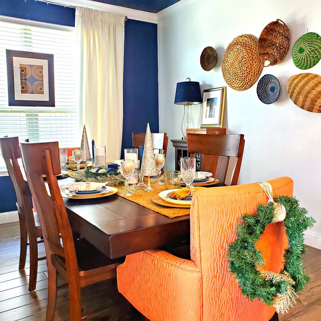 holiday dining room table styling with african baskets