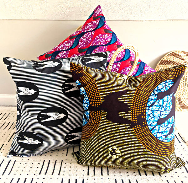 colorful african print fabric pillow covers