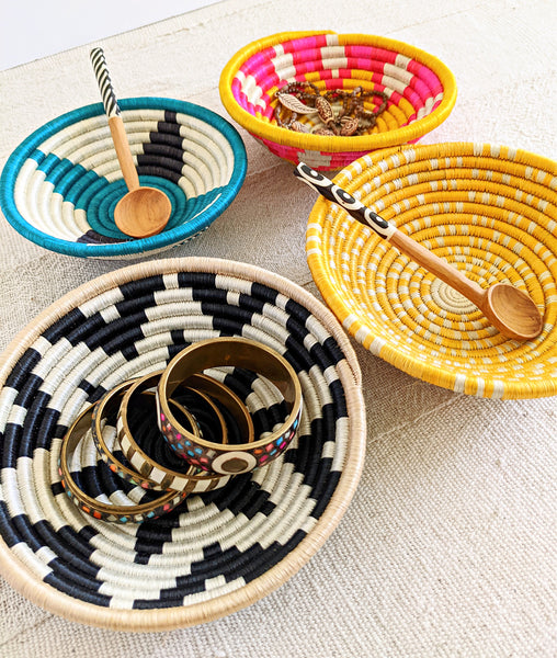 small colorful African woven baskets