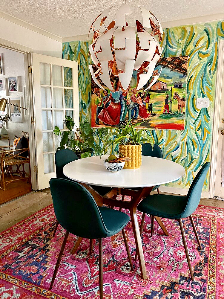 david quarles home tour dining room hand painted wall