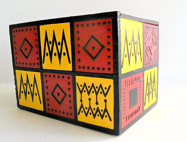 wood african pattern design cigar box