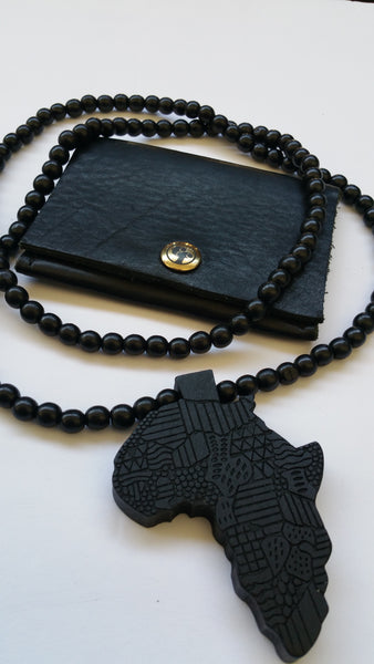black leather wallet africa medallion wood bead necklace