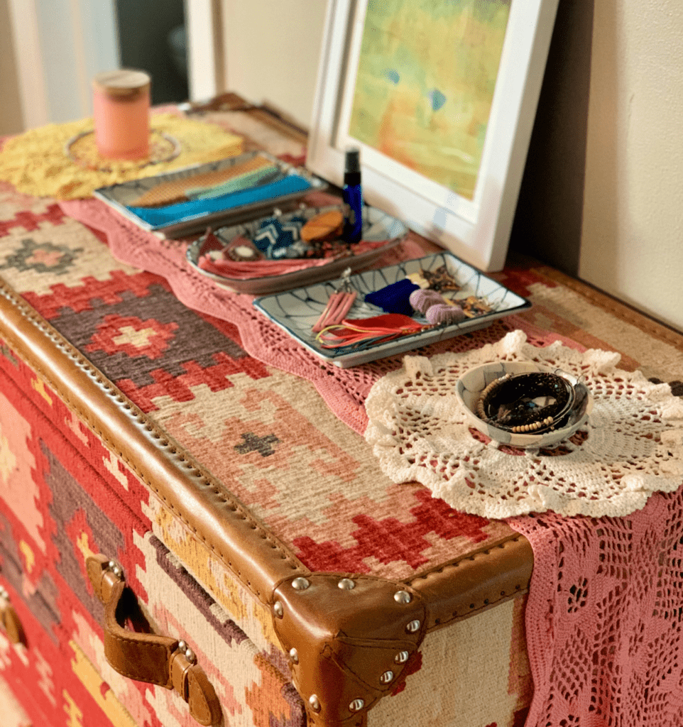 styled fabric trunk how we live decor blog home tour