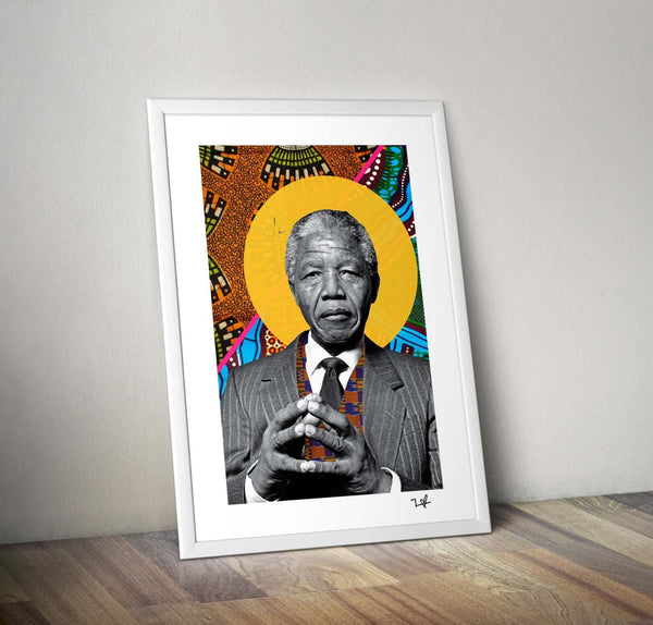 Nelson Mandela african print fabric collage art print afrocentric gift guide for him