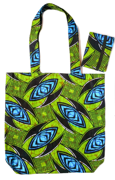 green african print fabric tote bag passport cover