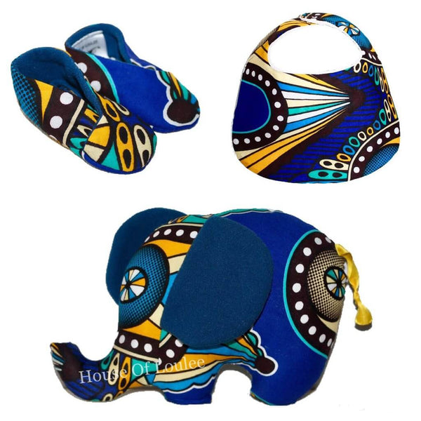 african print fabric circus stuffed animal elephant toy bib booties set shower gift ideas