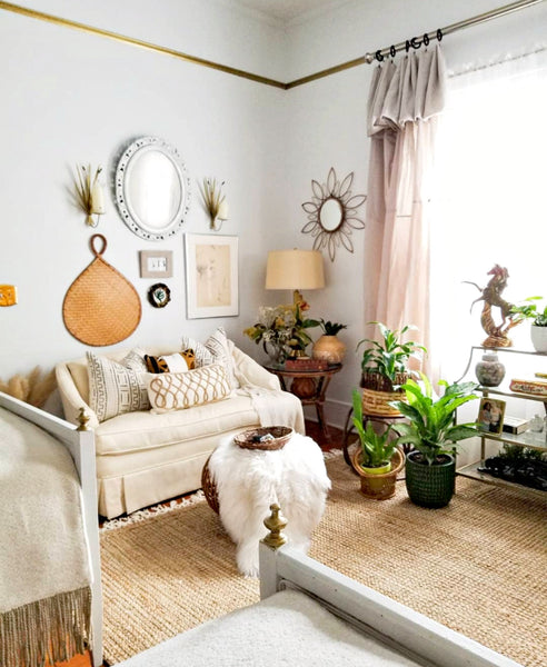 light airy white living room african inspired decor blog
