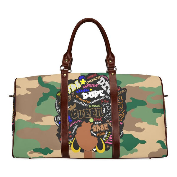camouflage afrocentric duffle bag black women with afro travel accessories guide