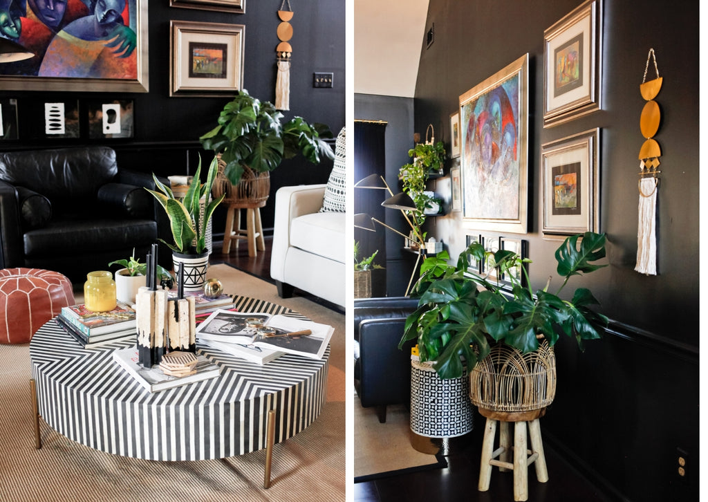 how we live decor blog home tour with laquita tate living room with black walls