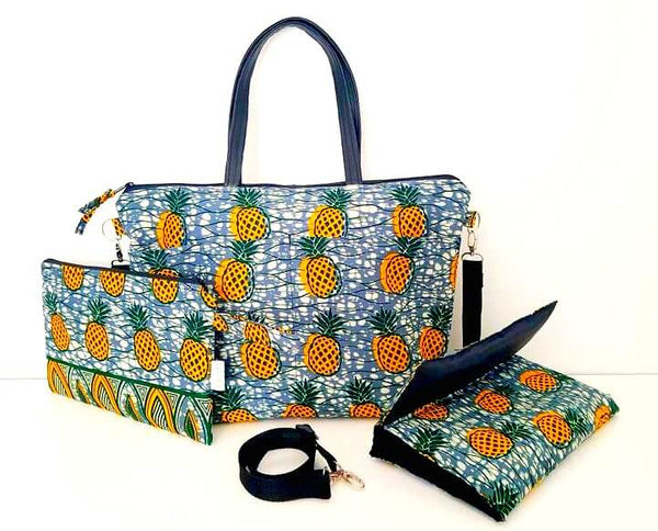 african print fabric pineapple diaper bag baby shower gift set ideas afrocentric