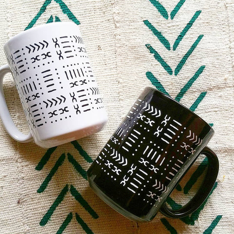 mud cloth pattern coffee mugs 15 oz white black mugs