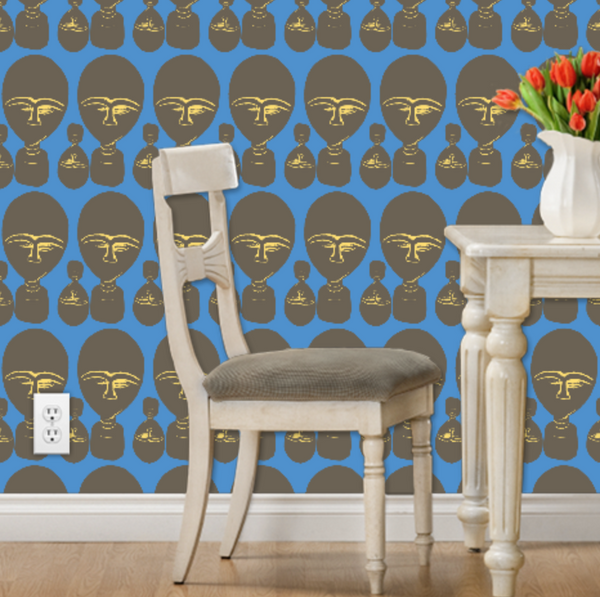 blue wallpaper with african masks nola hopkins afrocentric decor ideas