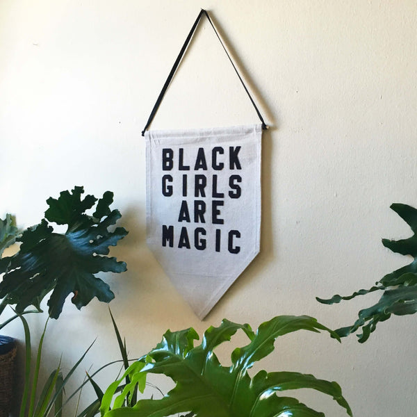 rayo and honey black girls are magic canvas pennant baby shower gift ideas