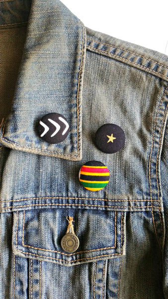 african print fabric button jacket lapel pins