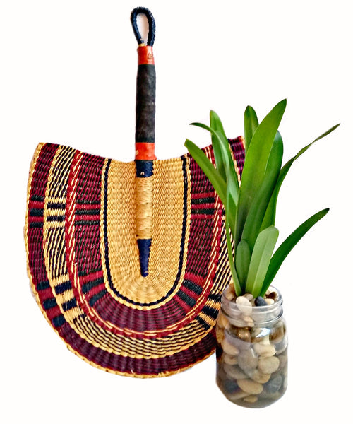 african woven fan leather handle wall art spring decor ideas