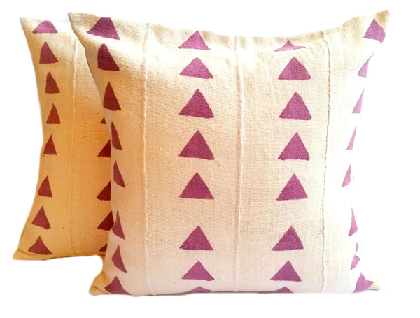cream off white purple mud cloth pillows