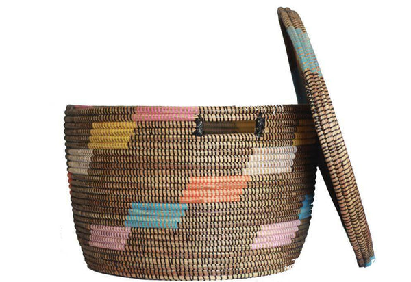 Black multi color African woven storage basket hamper with lid