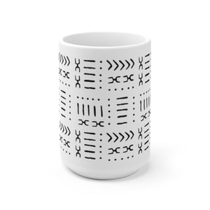 15 oz White & Black Mud Cloth Pattern Coffee Mug
