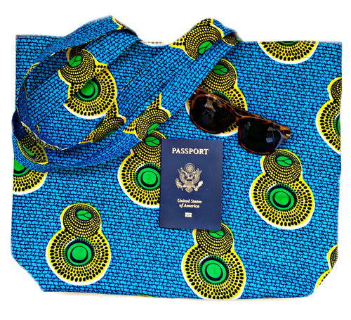 Blue Yellow African Print Fabric Reversible Tote Bag