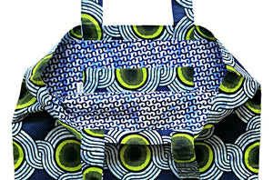 Blue Abstract African Print Fabric Tote Bag