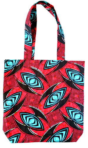 Fuchsia African Print Fabric Reversible Tote Bag