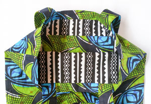 Green Blue African Print Fabric Tote Bag