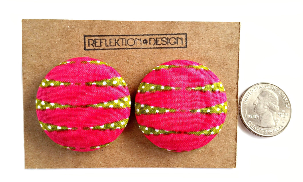 Pink Green Ankara Fabric Button Earrings or Pendant Necklace