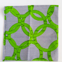 Green White African Print Fabric Bandana